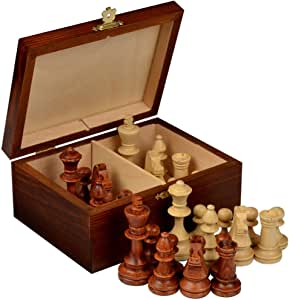 Wegiel Handmade European Professional Tournament Chess Pieces With Wood Storage Case