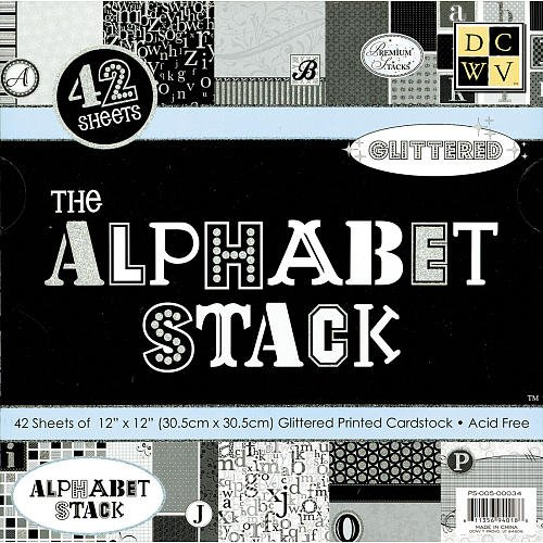 Alphabet Paper Stack (Diecuts with A View Alphabet Paper Stack, 12-Inch by 12-Inch, 42 Sheets/Pad)