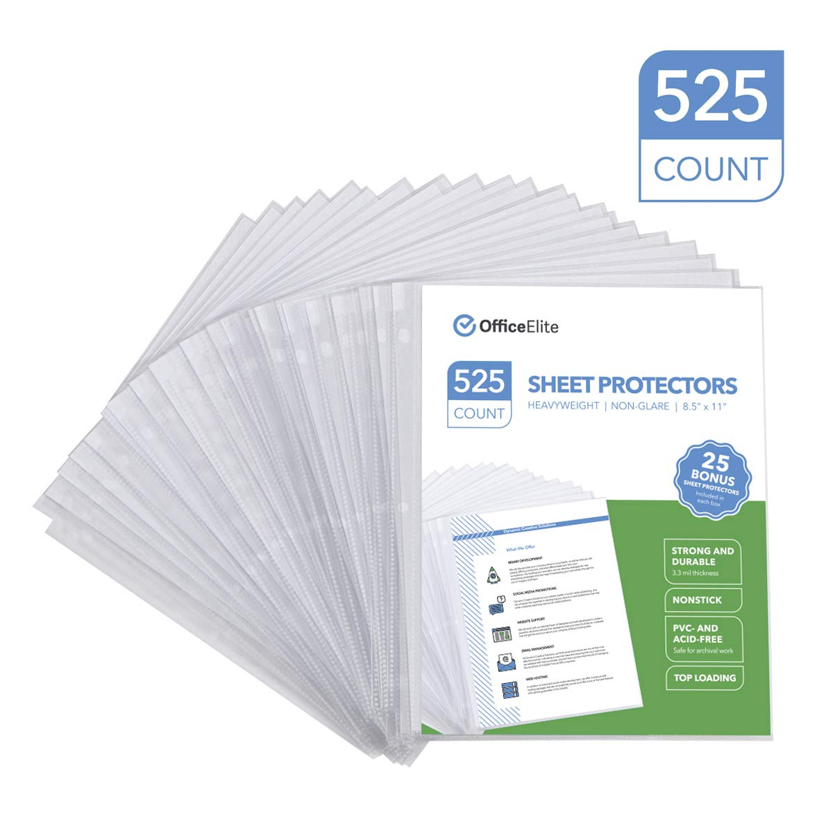 525 Non-Glare Heavyweight Sheet Protectors - 3.3 MIL Thickness - Reinforced 3 Hole Design - Protects Photos and 8.5'' x 11'' Documents - Top Loading - Archival Safe - PVC and Acid Free - Box of 525 by Office Elite