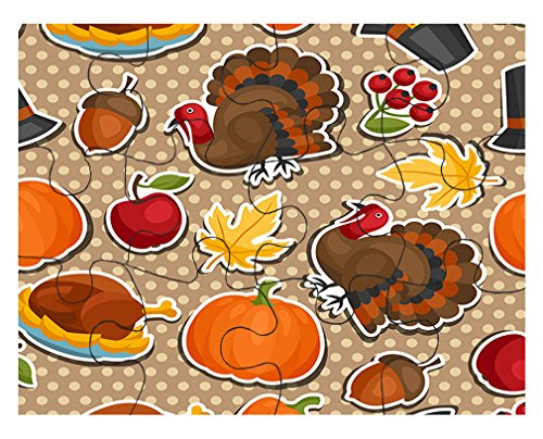 Thanksgiving Seemless Pattern #1 Jigsaw Puzzle Print 30 Pieces 9.5