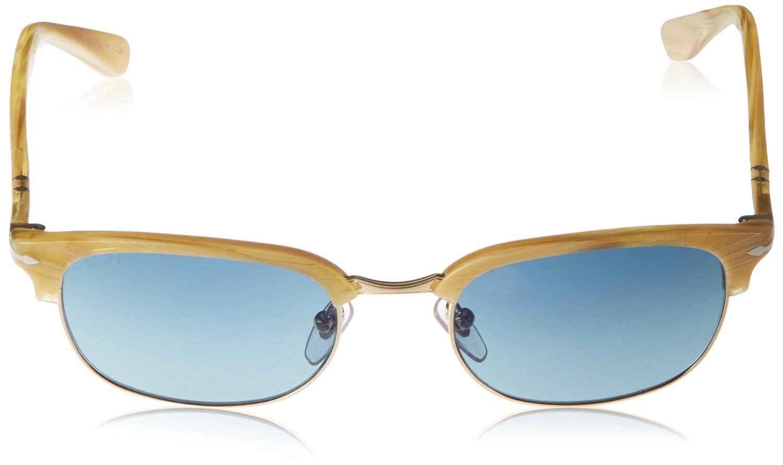 Persol Unisex Sonnenbrille 0PO8139S, Braun (Gestell: Helles Horn, Gläser: Polarisiert Blau 1046S3), Medium (Herstellergröße: 55)