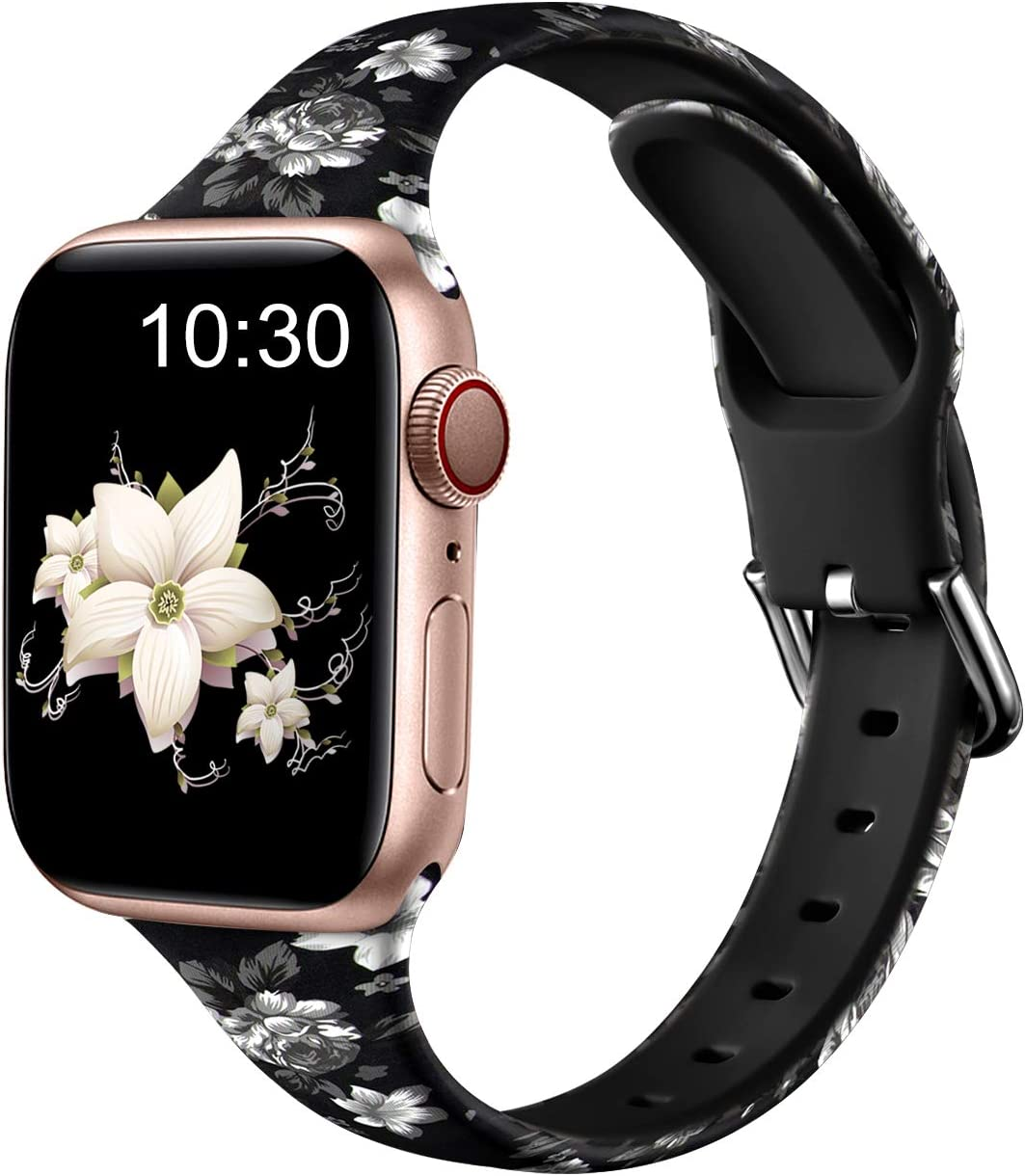 Nofeda Bands Compatible with Apple Watch Band 38mm 40mm iWatch Series 6 5 4 3 2 1 & SE, Slim Silicone Printed Fadeless Replacement Strap Band for Women Men, Gray Flower