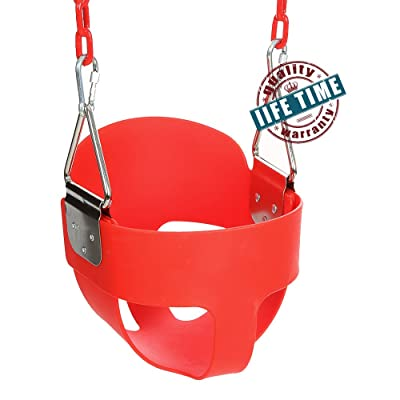 Ancheer Toddler Swing Seat High Back Full Bucket Swing Seat with 60-inch Coated Chain and Two Snap Hooks –Swing Set Accessories (Red)