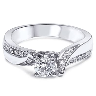 c5f3b63aea7 5 8ct Twist Pave Diamond Engagement Ring 14K White Gold - Size 4