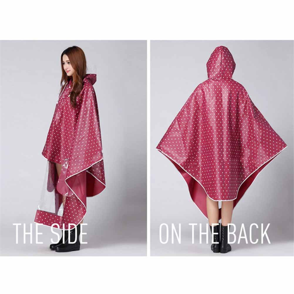 ACTLATI Women Hoodie Raincoat Poncho with Dot for Cyling Hiking Folding Lightweight Rain Clothing