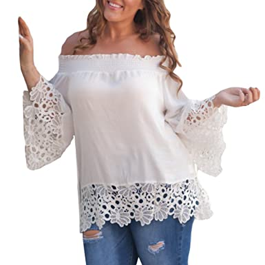 1b3c4dd29f0c2 ❤️LILICAT Mode Femmes Casual Blouse Curve Appel Dentelle Splicing T-Shirt  Blouse Tops Slash