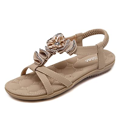 3953e0867589 Zicac Women s Bohemia Flower Beads Rhinestone Elastic T-Strap Round Toe  Summer Beach Post Sandals