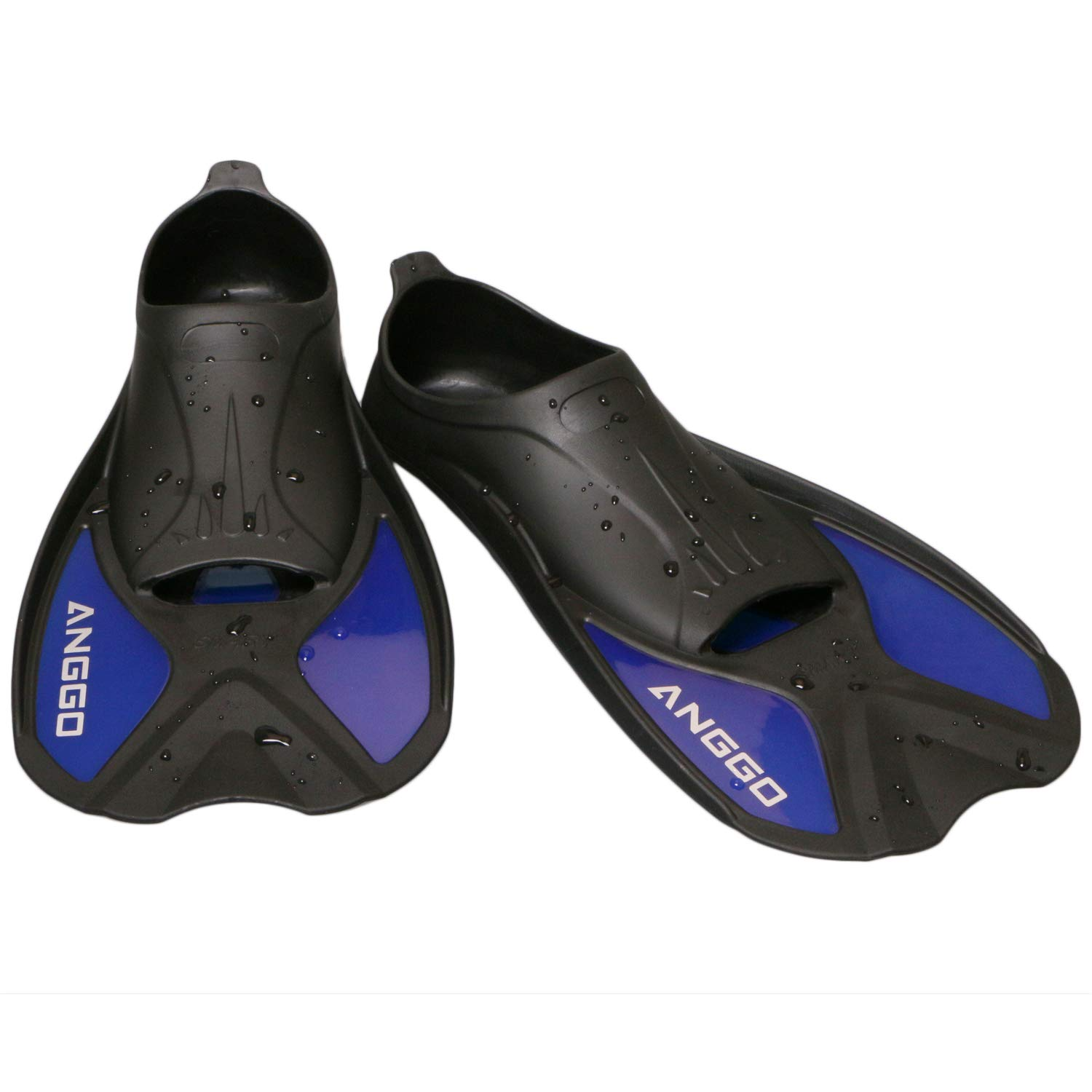 ANGGO Short Dive Fins for Swimming Snorkeling and Diving (Blue, X-Large) by ANGGO