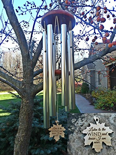 Memorial i am near wind chime in memory silver wind chime for memorial garden or porch heaven for Garden memorials for loved ones