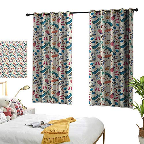 Bedroom Curtains W72 x L63 Fitness,Cartoon Style Gym Equipment Set Activity Exercise Burning Calories Losing Weight,Multicolor BedroomRoom Darkening,Blackout Curtains Room/Kid's -