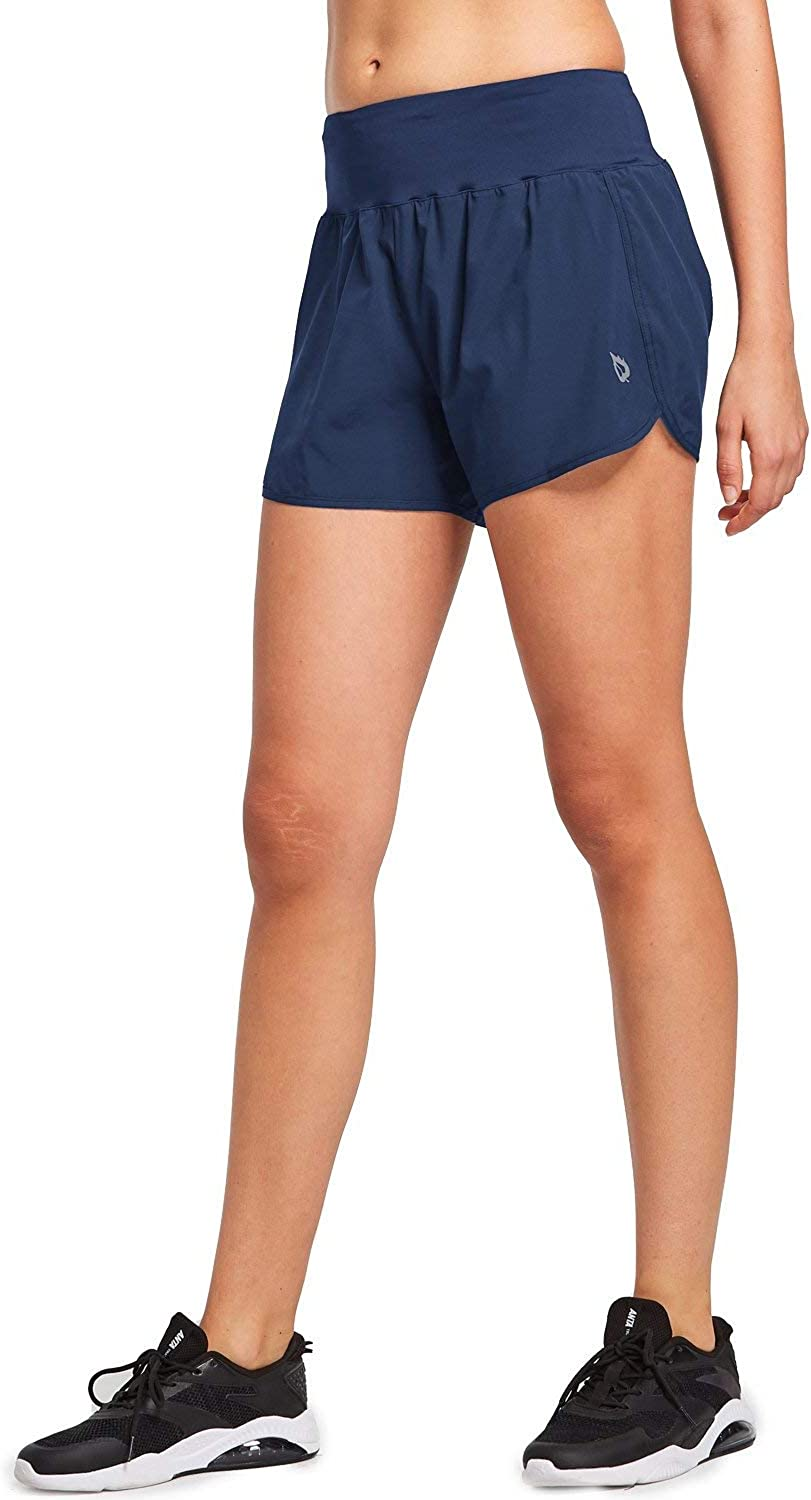 BALEAF Women's 4 Inches High Waisted Athletic Lined Running Shorts Back Zipper Pocket Dri-Fit Workout Gym Sportswear: Clothing