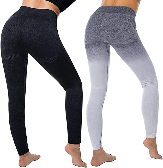 Puimentiua Womens Seamless Gradient Stretchy Yoga Pants/Waist Control with Pockets/Ultra Soft Lightweight Leggings.