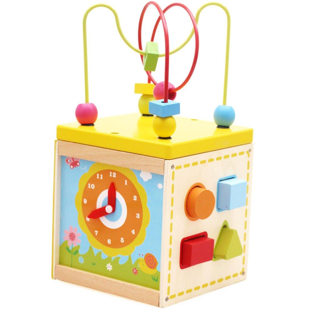 Circuits de motricité, Foxom Perles en bois, jouet en fil, boîte à trésorerie multifonction, bébés, enfants, développement précoce et éducation, jouet