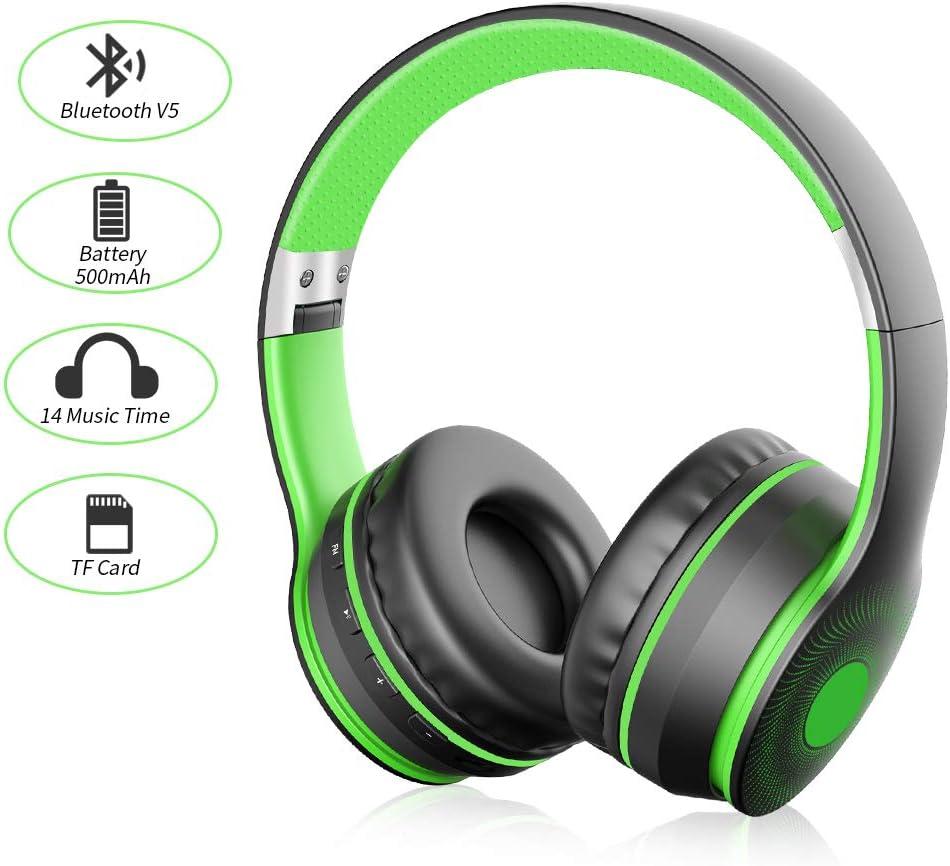 Ifecco Bluetooth Estéreo Auriculares Música Sobre-oído Sonido de alta fidelidad, Bluetooth Banda para la cabeza plegable con micrófono y cable de audio para Apple iPhone, PC (Negro + verde)