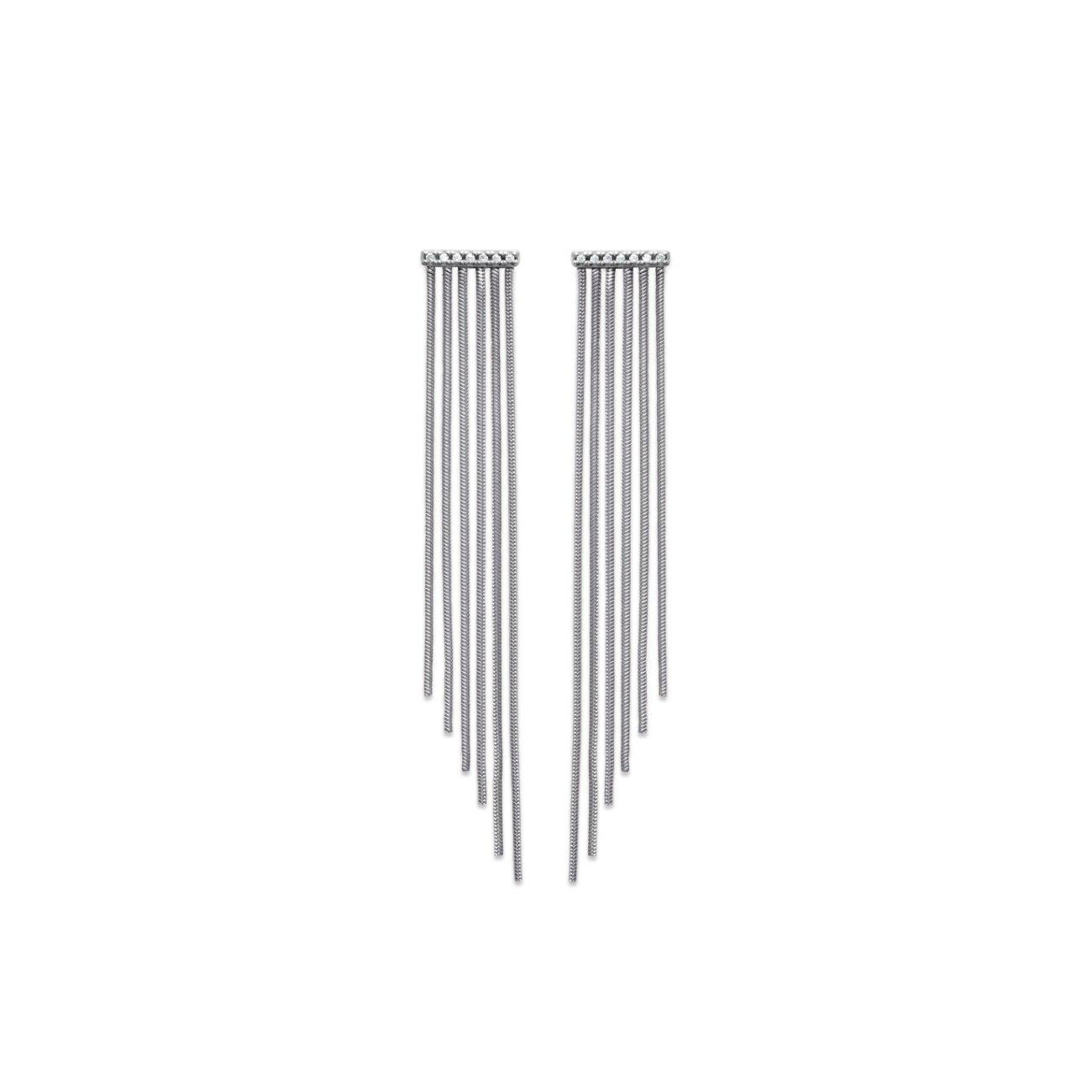 Tata Gisèle pendientes larga en plata 925/000 rhodié y oxydes de zirconium – largos antiácaros 70 mm – incluye bolsita regalo terciopelo