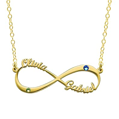 Uloveido Personalized Infinity Necklace Custom Two Birthstone and Name  Necklace for Women 925 Sterling Silver Lover dda5830345