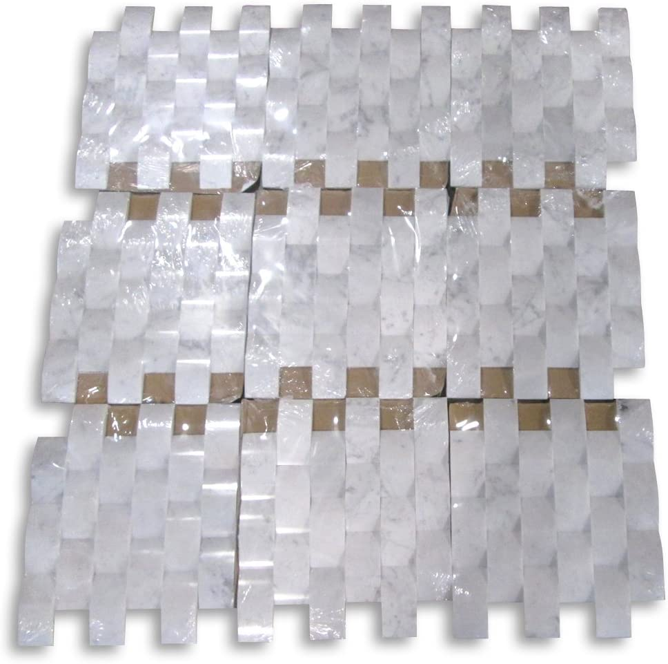 Stone Center Online Carrara White Italian Carrera Marble 3D Cambered Curved Arched Pillow Mosaic Tile 2x4 Subway Polished Venato Bianco Bathroom Kitchen Fireplace Surround Wall Backsplash Tile