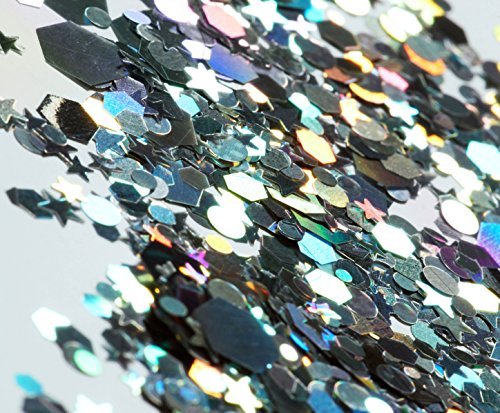 Silver Holographic Chunky Cosmetic Glitter (15g) - Great for Festivals, For Use on Face, Body, Hair, and Nails - by All Glown Up by All Glown Up (Image #2)