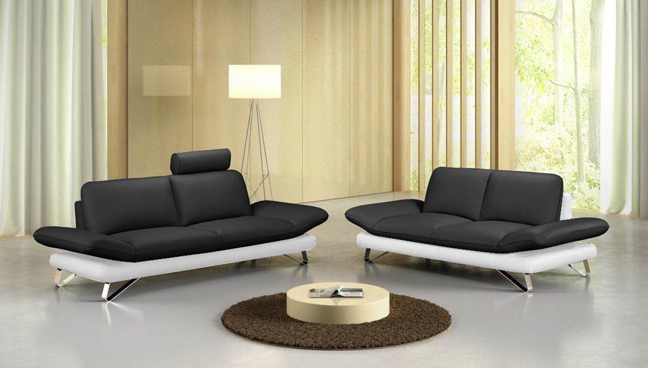 MSA SAM® Elegante Sofá Taifun en negro/blanco 2 & 3 plazas ...