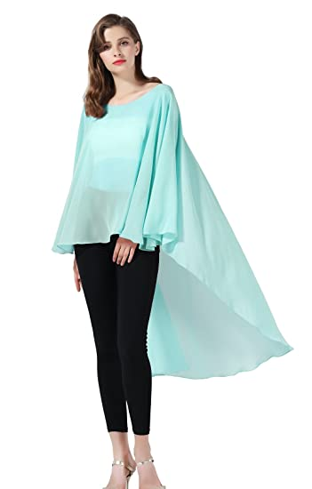 ba5c5e89f7714e Chiffon Shawl Women Cape Beach Cover Up Summer Tops Bridal Capelet Wraps  Wedding Evening Aqua blue  Amazon.co.uk  Clothing