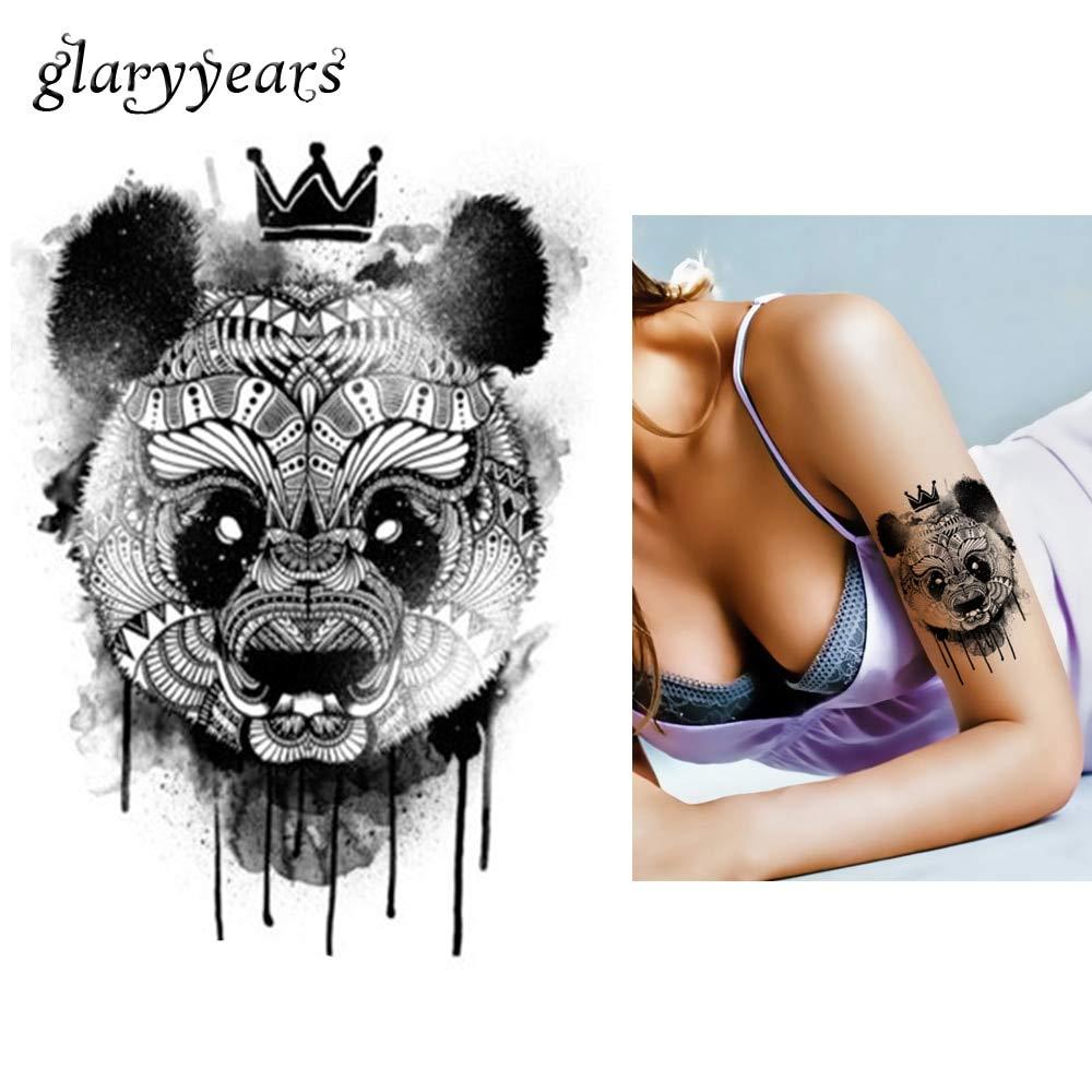 tzxdbh 5 Unids Etiqueta Negra Impermeable Tatuaje Panda King ...