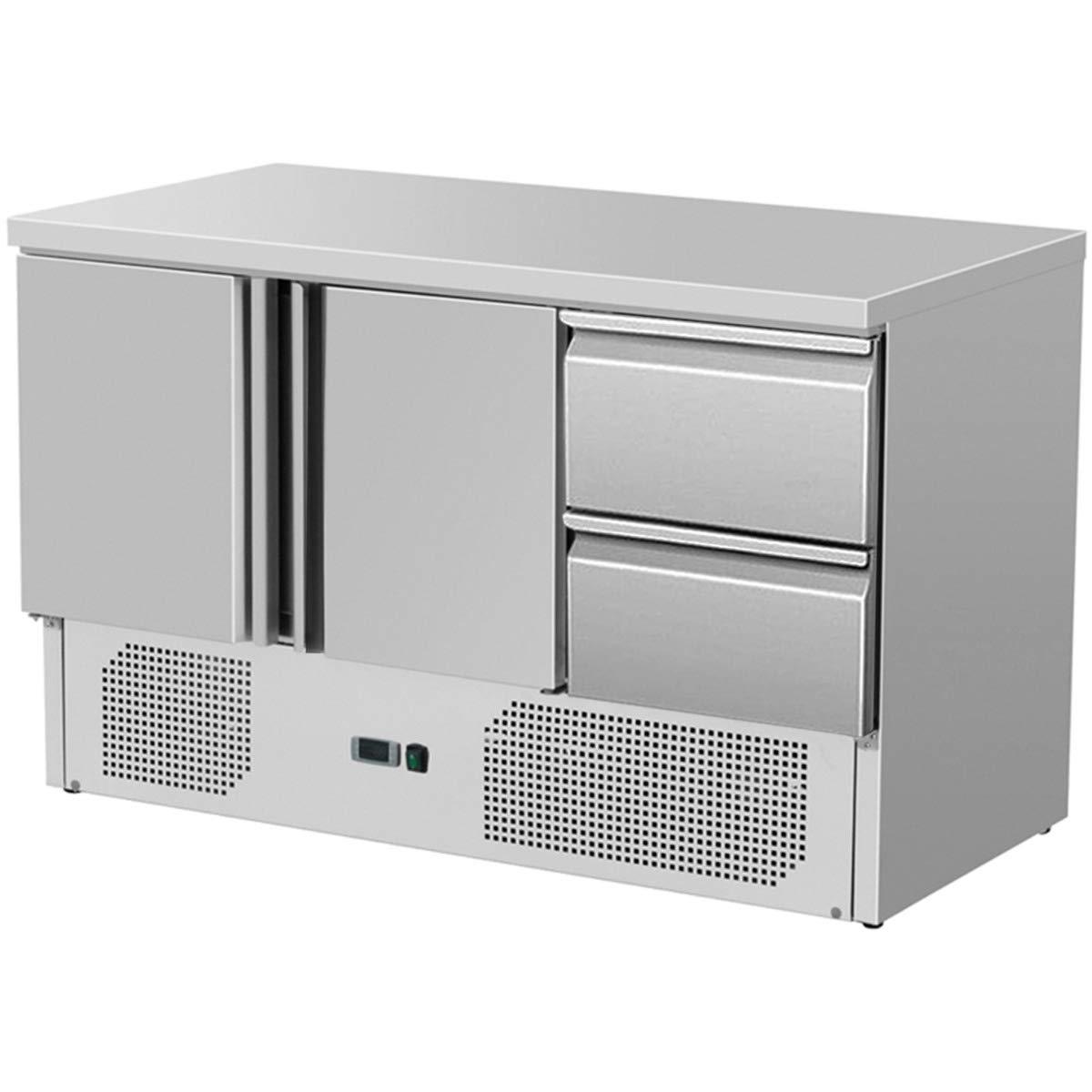 ZORRO - Kü hltisch ZS 903 2D - 2 Tü ren - 2 Schubladen - Gastro Saladette mit Arbeitsflä che - R600A - Digitales Thermostat