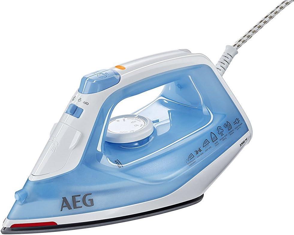 AEG DB1730 Plancha Gran Precisión, Golpe 80g, Vapor Continuo de 0 a 30g/min, Depósito de 250ml, Suela Cerámica, Especial Prendas Delicadas, Sistema Antical, 2.3 W, plástico, Azul