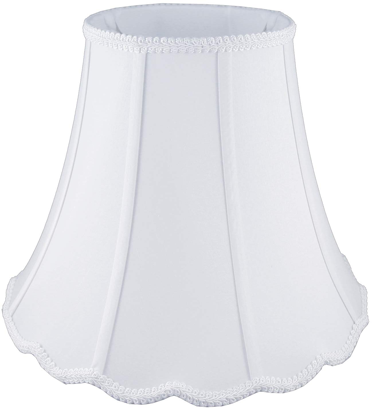 American Pride 10''x 20''x 15'' Scallop Soft Shantung Tailored Lampshade, White