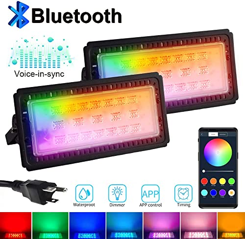 Huamai LED Flood Lights RGB Color Changing Security Lights 60w Bluetooth APP Control IP66 Waterproof for Outdoor and Indoor Timing Multi Colors Multi Modes for Garden Stage Lighting 60W-2Pack