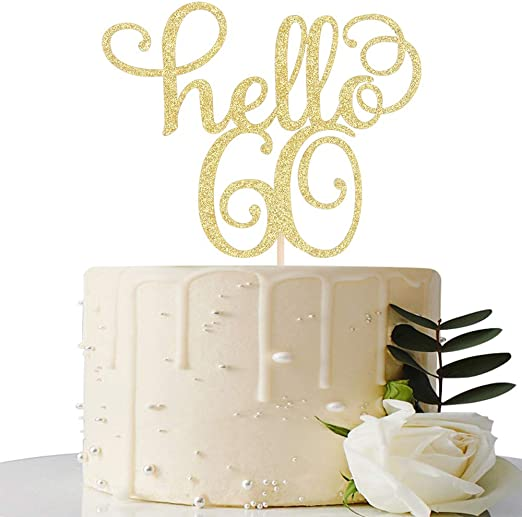 Amazon.com: Hello 60 – Decoración para tarta de 60 ...