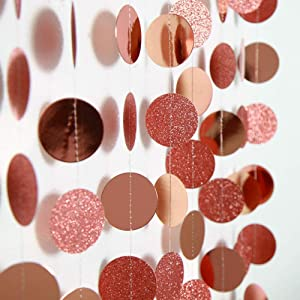 Rose Gold Party Decoration Paper Circle Dot Garland Kit Rose Gold Hanging Decor for Wedding/Birthday/Baby Shower/Graduation/New Year/Christmas/Home/Garden/Barbecue/Doorway/Ceiling/Window