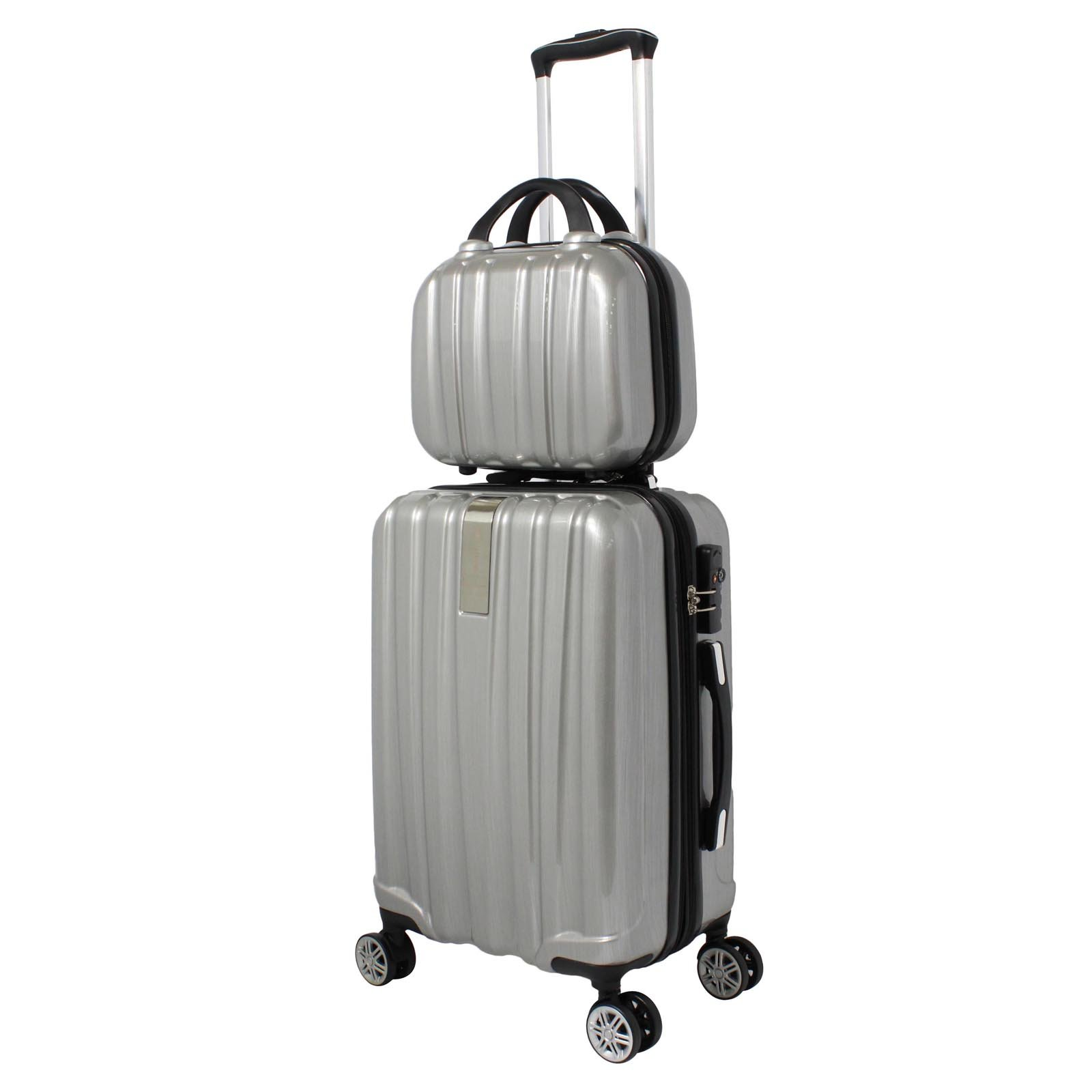 World Traveler Monaco 2-Piece Expandable Carry-on Spinner Luggage Set, Silver
