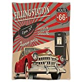 Super Soft Throw Blanket Custom Design Cozy Fleece Blanket,Cars,Poster Style Image Gasoline Station Commercial Kitschy Element Route 66 Print Decorative,Vermilion Beige,Perfect for Couch Sofa or Bed