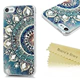 ipod 5 case light blue - Mavis's Diary iPod Touch 5 Case 3D Handmade Bling Diamonds Blue Gradient Totem Lotus Crystal Clear Hard PC Case Shiny Sparkle Rhinestones Slim-Fit Bumper Lightweight Cover for iPod Touch 5
