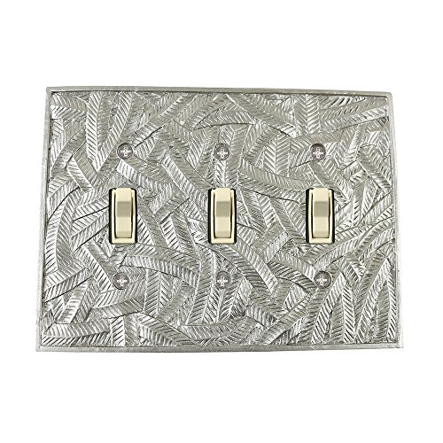 Pewter Dimmer (Meriville Island 3 Toggle Wallplate, Triple Switch Electrical Cover Plate, Pewter)