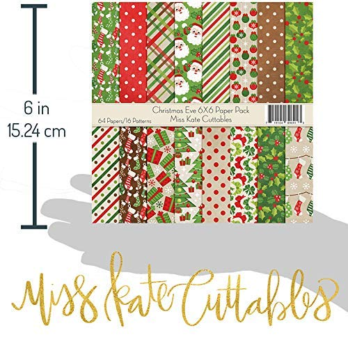 by Miss Kate Cuttables Christmas Eve Card Making Scrapbook Specialty Paper Single-Sided 6x6 Collection Includes 64 Sheets 6X6 Pattern Paper Pack