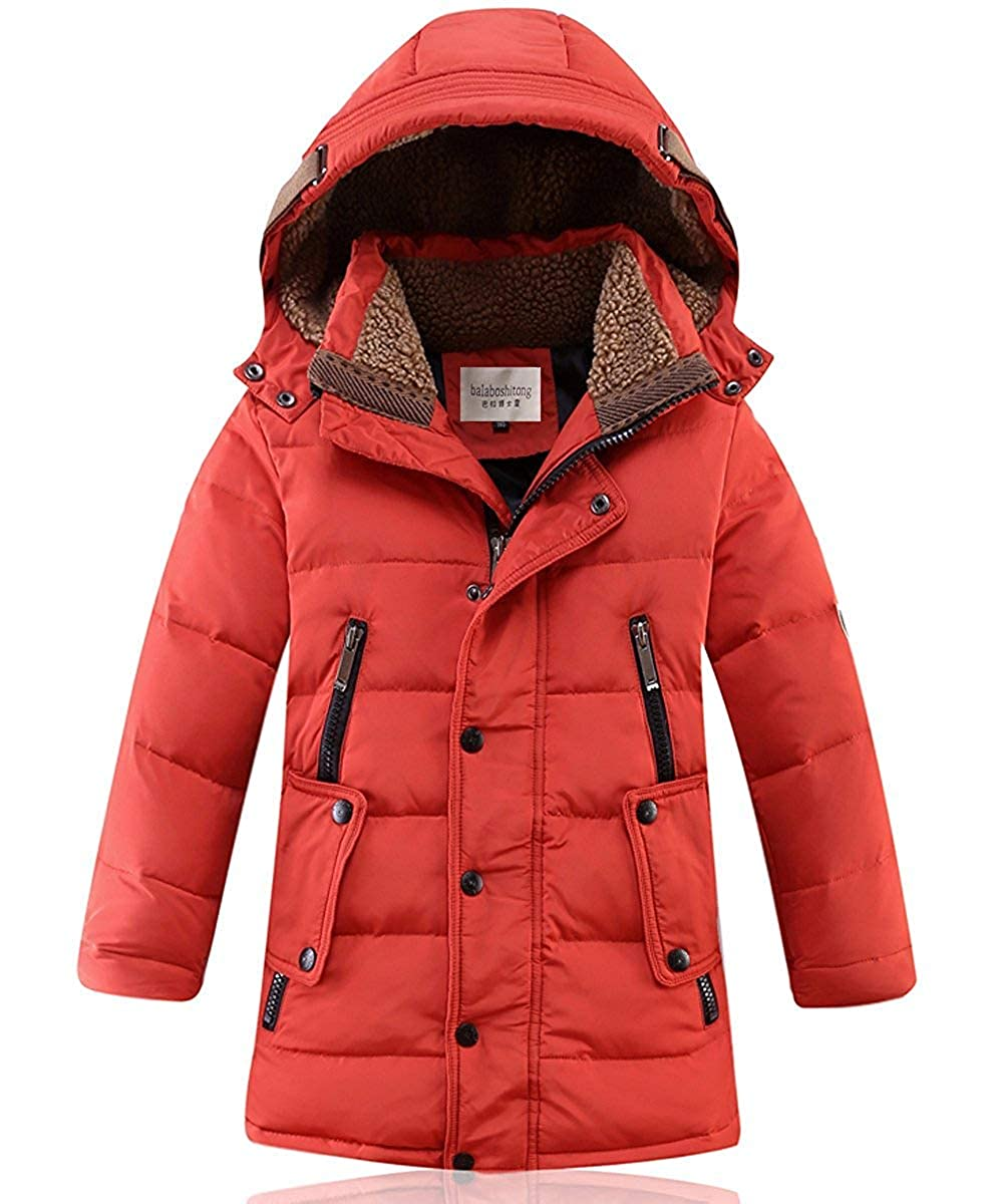 DNggAND Big Boys' Winter Hooded Down Coat Puffer Jacket Mid Long Parka Coats