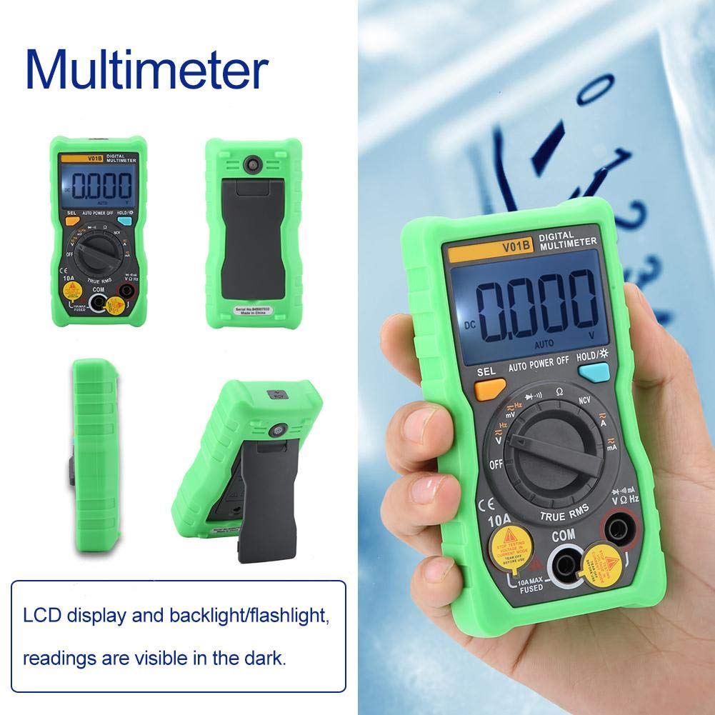 Green V01B Digital Multimeter Temperature Auto-Ranging True-RMS Smart NCV 4000 Counts Digital Multimeter