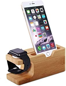 Apple Watch Stand, Bamboo Wood Charging Stand Bracket Docking Station Cradle Holder W Business Card Slot Phone Stand for iPhone X 8 7 6 Plus 5 5c and Apple Watch 38mm 42mm Series 3 Series 2 Series 1