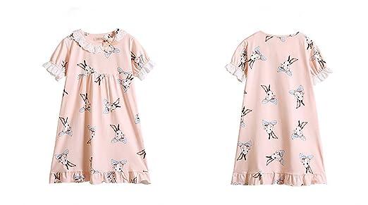 a2d0a10ca3057 Haolong ネグリジェ パジャマ キッズ 女の子 半袖 夏 綿100% ナイトドレス ルームワンピース ガールズ ルーム