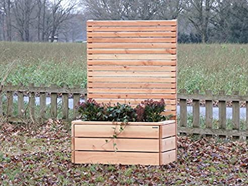 Pflanzkübel Holz mit Sichtschutz, Douglasie Natur: Amazon.de: Garten