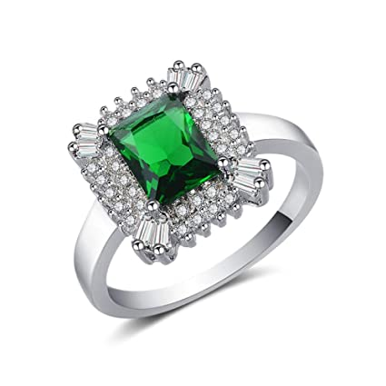 yayoushen Lady Ring Emerald Long Fang Plated Platinum Ring