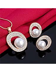 Hot Women Crystal Simulated Pearl Jewelry Set Necklace Earrings Wedding Party Fashion Costume African Beads Dress Accessories^