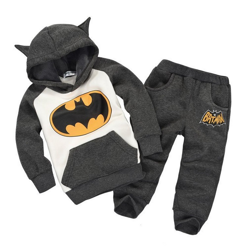 Batman Tracksuit Outfits Baby Toddler Kids Boy Girl Baby Hooded Romper Jumpsuit