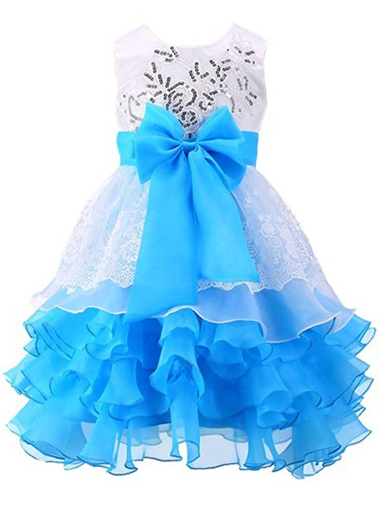 f29faafc9 COMFORTABLE LINING : Lining is 100% cotton and breathable. FASHION AND  ELEGANT PRINCESS DRESS: Multi layer Ruffled Dress, Sleeveless, big bow on  the front, ...