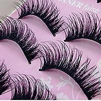 JISTL 5 pares de moda natural hecho a mano largo falso negro maquillaje de pestañas
