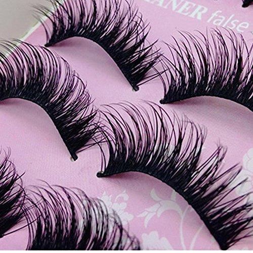 JISTL 5 Pairs Fashion Natural Handmade Long False Black Eyelashes ()