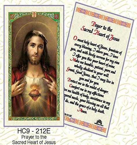 Prayer to the Sacred Heart of Jesus Laminated Prayer Cards - Pack of 25 - HC9-212E (Sacred Of Jesus Prayer Card Heart)