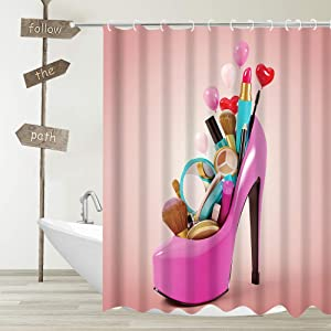YUYASM Cosmetic High Heels Shower Curtain Sexy Girl Hot Pink High Heeled Shoes with Makeup Coral Backdrop Decor Polyester Fabric Bathroom Curtains with Plastic Hooks 70x70 Inch