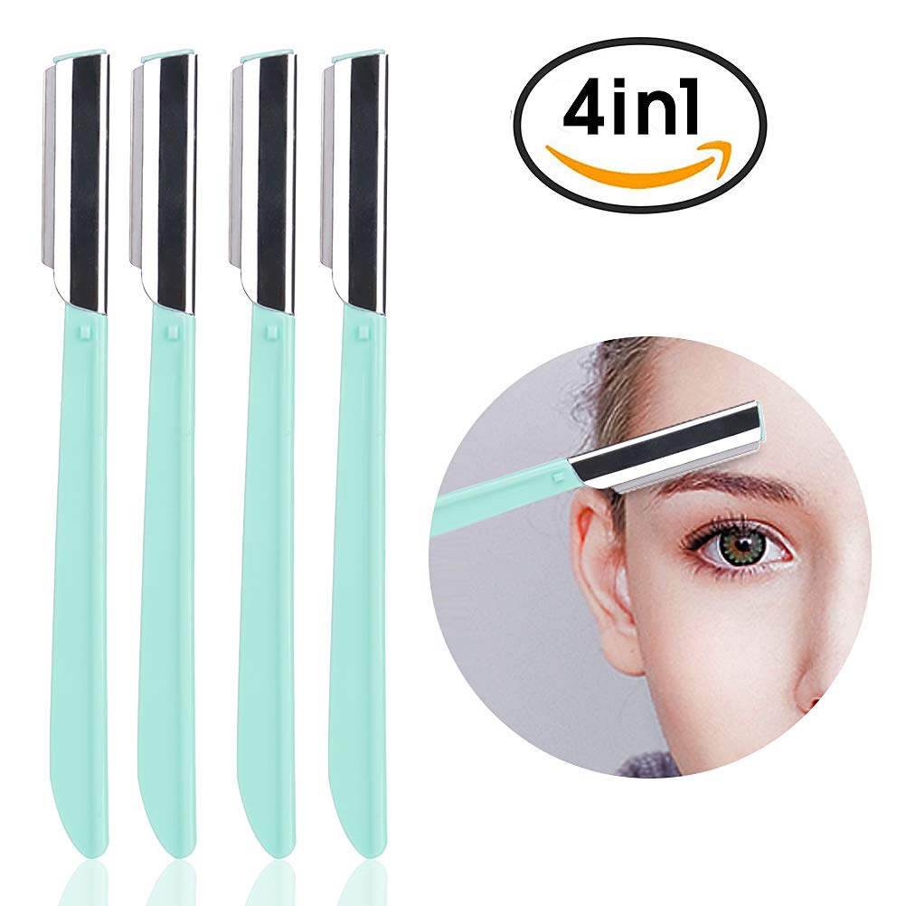 Eyebrow Razors Shaving Cheek Facial Hair Remover Shapers Razors Shavers Shaping Grooming Trimmers for Women - Pack of 3 Green MeilameiEUR